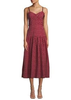 Rebecca Taylor Shirred Heart-Printed Silk Midi Dress