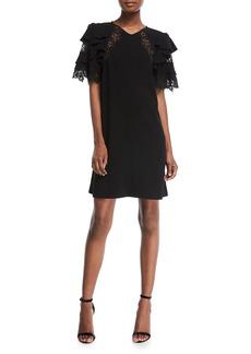 Rebecca Taylor Short-Sleeve A-Line Crepe Dress w/ Lace
