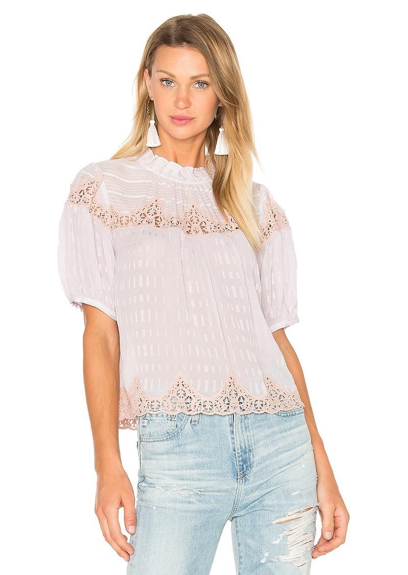 Rebecca Taylor Short Sleeve Clip Mix Top