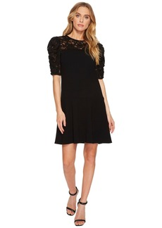 Short Sleeve Crepe Lace Dress