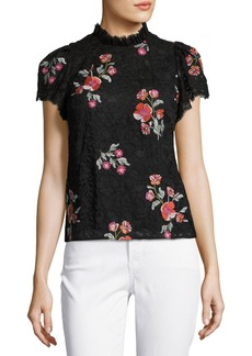 Rebecca Taylor Short-Sleeve Floral-Embroidered Lace Top