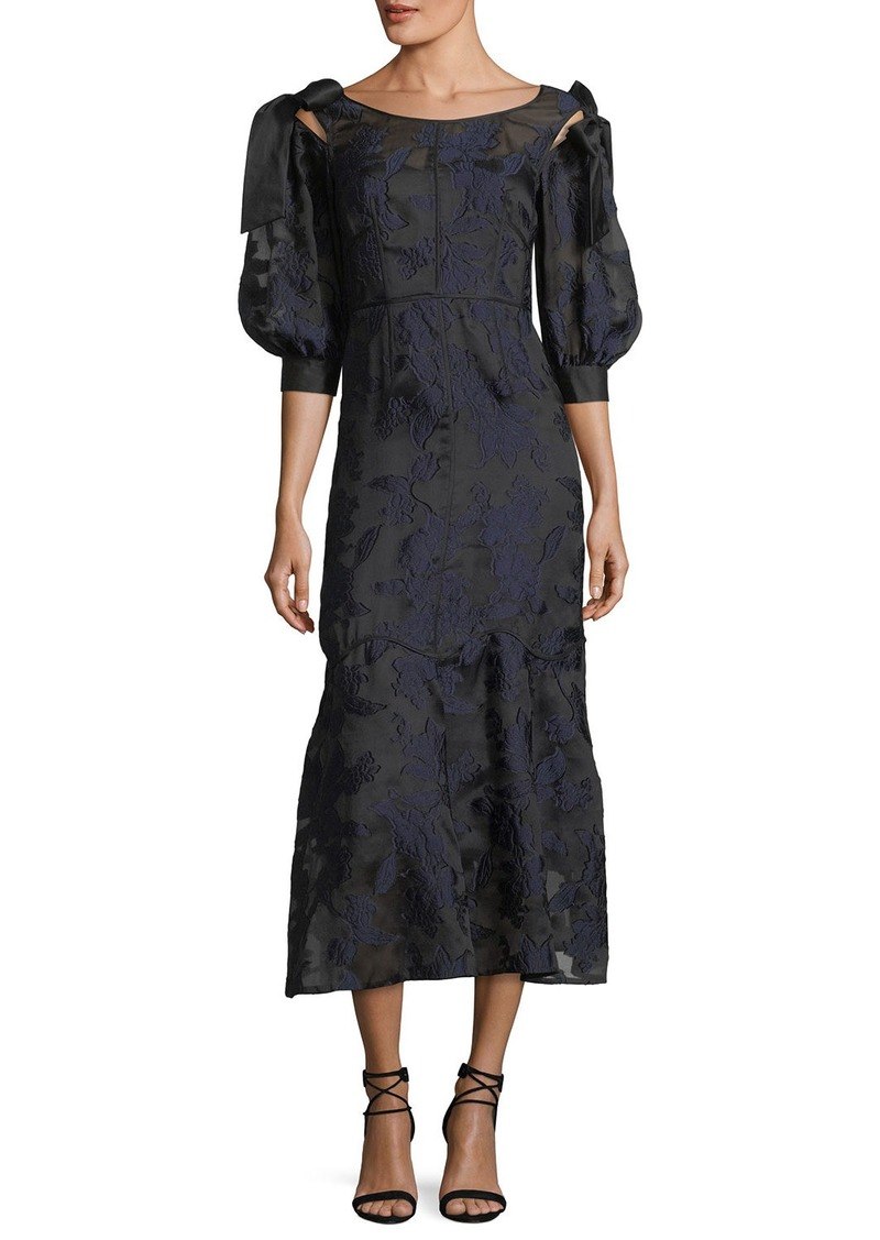 Rebecca Taylor Short-Sleeve Floral-Jacquard Organza Dress