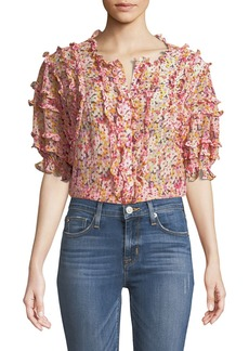 Rebecca Taylor Short-Sleeve Floral-Print Ruffled Top