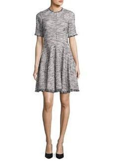 Rebecca Taylor Short-Sleeve Fringe-Trim Boucle Tweed Fit & Flare Dress