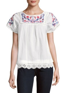 Rebecca Taylor Short Sleeve Garden Embroidery Top