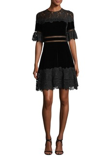 Rebecca Taylor Short-Sleeve Jewel Neck Velvet & Lace Dress
