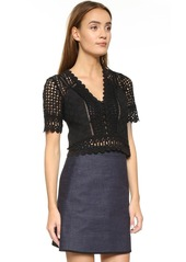 Rebecca Taylor Short Sleeve Lace Crochet Blouse