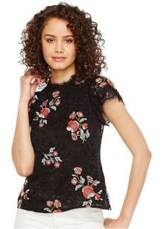 Short Sleeve Lace Top w/ Embroidery