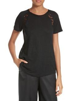 Rebecca Taylor Short Sleeve Linen & Lace Tee