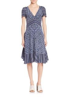 Rebecca Taylor Short Sleeve Paisley Dress