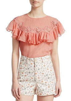 Rebecca Taylor Short-Sleeve Pinwheel Top