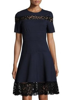 Rebecca Taylor Short-Sleeve Ponte Lace-Inset Dress