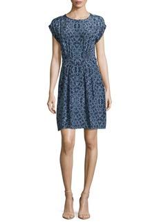 Rebecca Taylor Short-Sleeve Printed Silk Dress