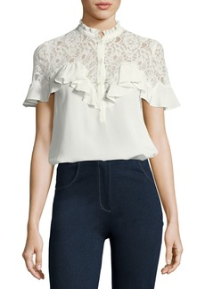 Rebecca Taylor Short-Sleeve Silk Top with Lace