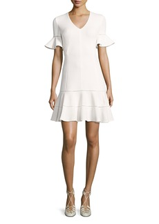 Rebecca Taylor Short-Sleeve Textured V-Neck Dress