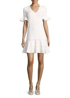 Rebecca Taylor Short-Sleeve Textured V-Neck Dress