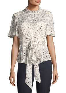 Rebecca Taylor Short-Sleeve Tie-Waist Star-Print Blouse