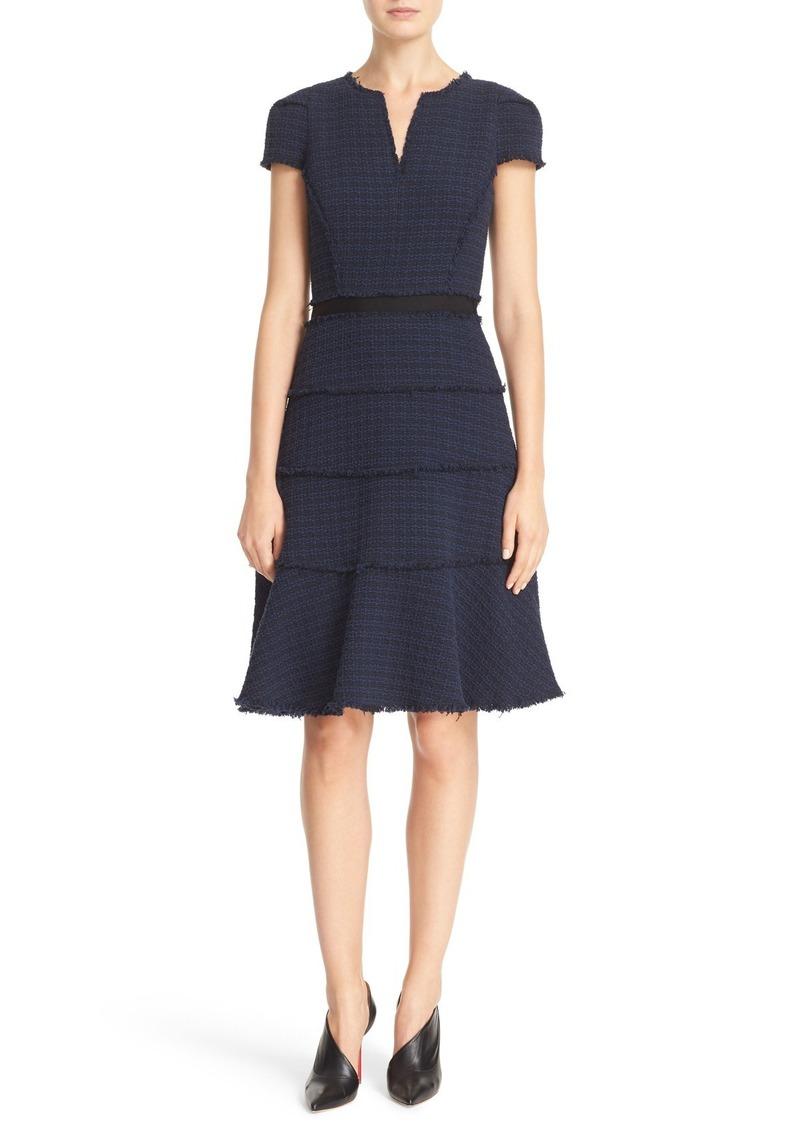 Rebecca Taylor Short Sleeve Tweed Fit & Flare Dress