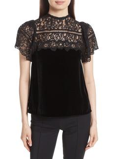 Rebecca Taylor Short Sleeve Velvet & Lace Top