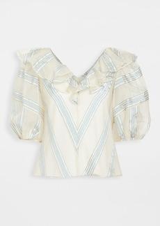 Rebecca Taylor Short Sleeve Yarn Dye Stripe Top