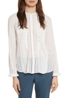 Rebecca Taylor Silk & Lace Long Sleeve Blouse