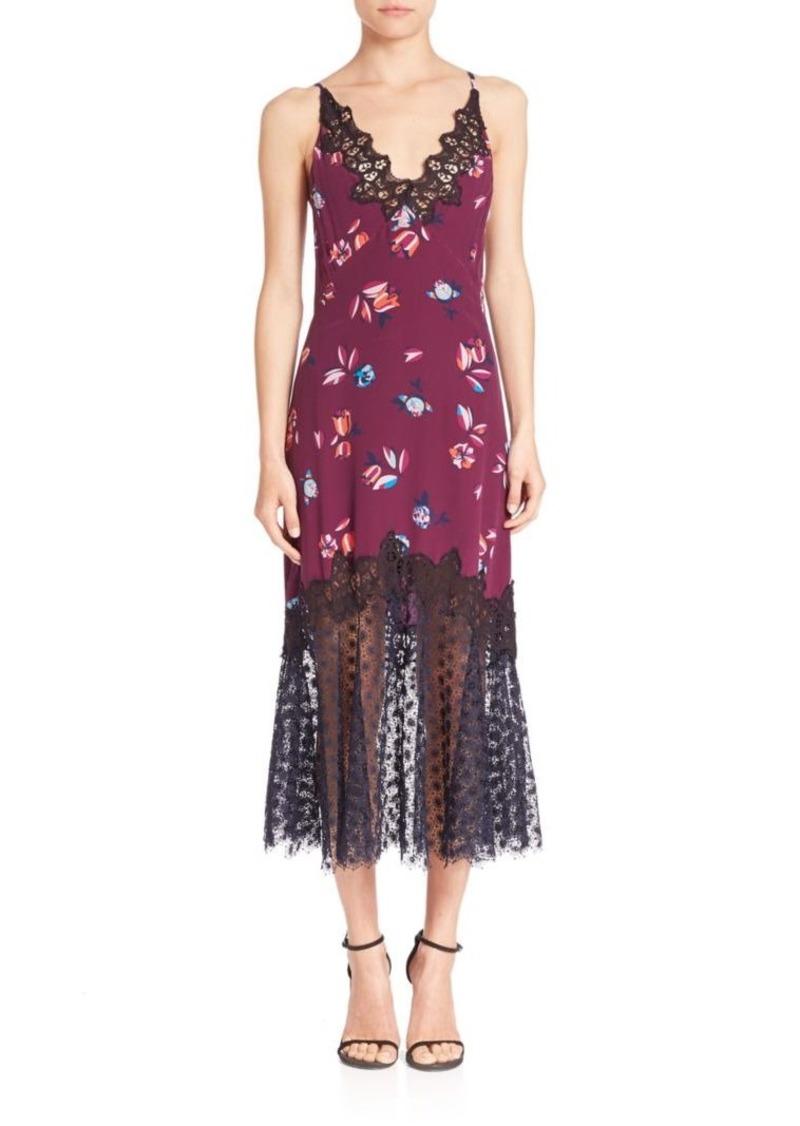 Rebecca Taylor Silk Bellflower Lace-Trim Slip Dress