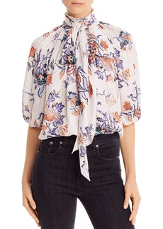 Rebecca Taylor Silk-Blend Toile Tie-Neck Top