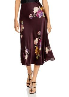Rebecca Taylor Silk Floral Print Midi Skirt