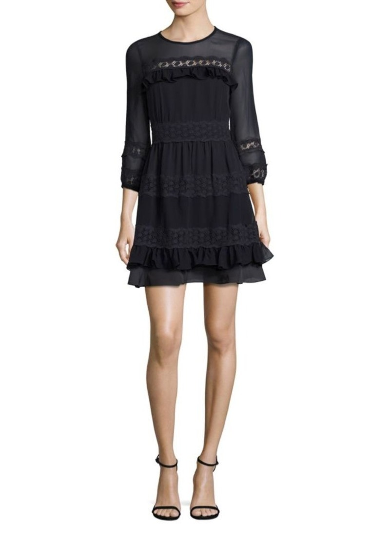 Rebecca Taylor Silk Georgette & Lace A-Line Dress