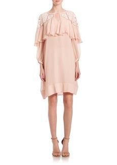 Rebecca Taylor Silk Mirrored-Eyelet Dress