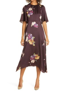 Rebecca Taylor Simone Fleur Floral Short Sleeve Silk Dress