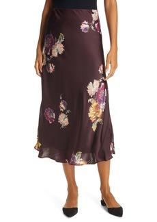 Rebecca Taylor Simone Fleur Silk Charmeuse Bias Cut Skirt