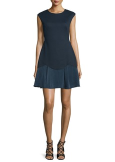 Rebecca Taylor Sleeveless A-Line Pique Combo Dress