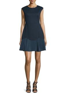 Rebecca Taylor Sleeveless A-Line Pique Combo Dress  Navy