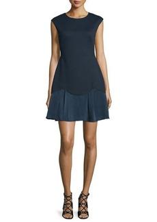 Rebecca Taylor Sleeveless A-Line Pique Combo Dress