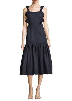 Sleeveless Cotton Cutout Midi Dress