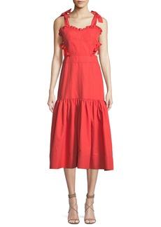 Rebecca Taylor Sleeveless Cotton-Linen Midi Dress with Cutout Sides