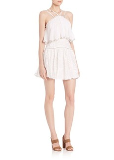 Rebecca Taylor Sleeveless Embellished Cotton Cami Dress