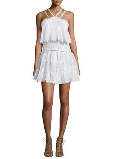 Rebecca Taylor Sleeveless Embroidered Popover Camisole Dress