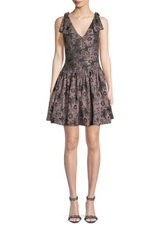 Rebecca Taylor Sleeveless Floral-Jacquard Fit-and-Flare Mini Dress