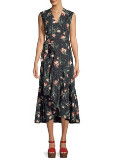 Rebecca Taylor Sleeveless Floral-Print Cotton Wrap Dress