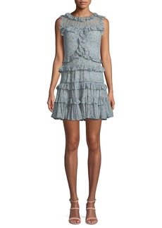 Rebecca Taylor Sleeveless Floral-Print Ruffle Mini Dress