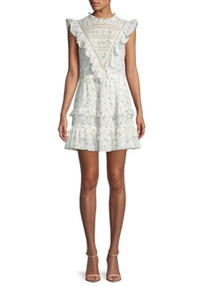 Rebecca Taylor Sleeveless Floral-Print Ruffle-Trim Mini Dress