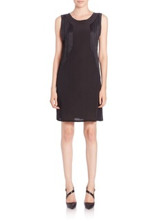 Rebecca Taylor Sleeveless Fringe Jersey Dress