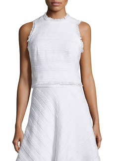 Rebecca Taylor Sleeveless Fringe-Trim Crop Top