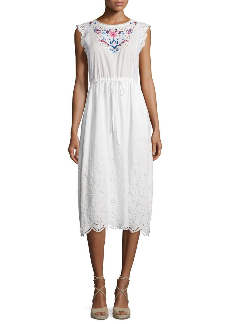 Rebecca Taylor Sleeveless Garden-Embroidered Midi Dress