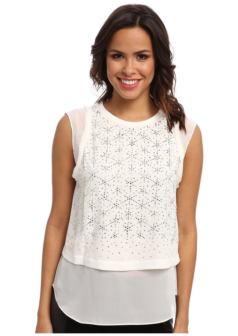 Rebecca Taylor Sleeveless Geo Shimmer Top