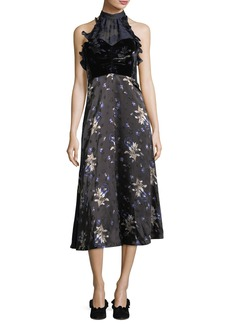 Rebecca Taylor Sleeveless Halter A-Line Velvet Printed Midi Dress