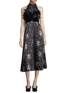 Sleeveless Halter A-Line Velvet Printed Midi Dress