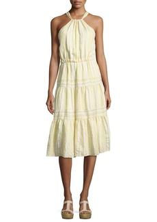 Rebecca Taylor Sleeveless Halter Crinkled Midi Dress